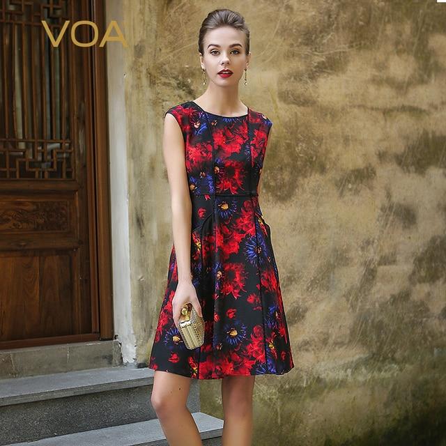 voa heavy silk print vintage slim christmas dress plus size high waist sleeveless women summer gothic