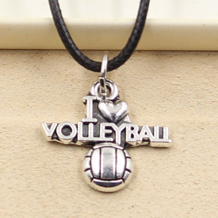 New Fashion Pendant I Love Volleyball Necklace Choker Charm Black Leather Cord Factory Price Handmade Jewelry
