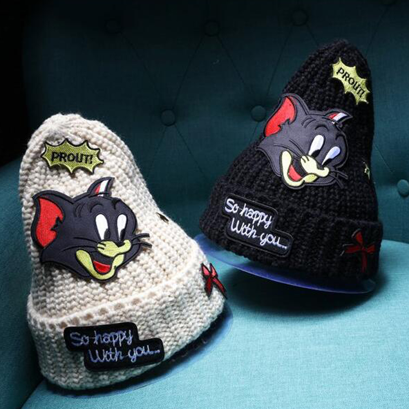 dropshipping New winter beanie knitting hat cap for women skullies cartoon mouse patch gorros bonnet hat