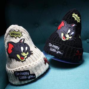 a315f06e4aa dropshipping New winter beanie knitting hat cap for women skullies cartoon  mouse patch gorros bonnet hat