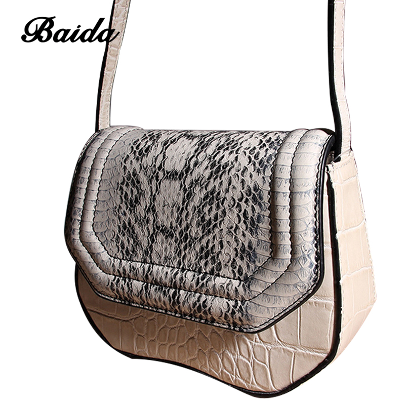 цена на Women Joint Genuine Leather portable single-shoulder bag Serpentine Satchel Fashion messenger bag