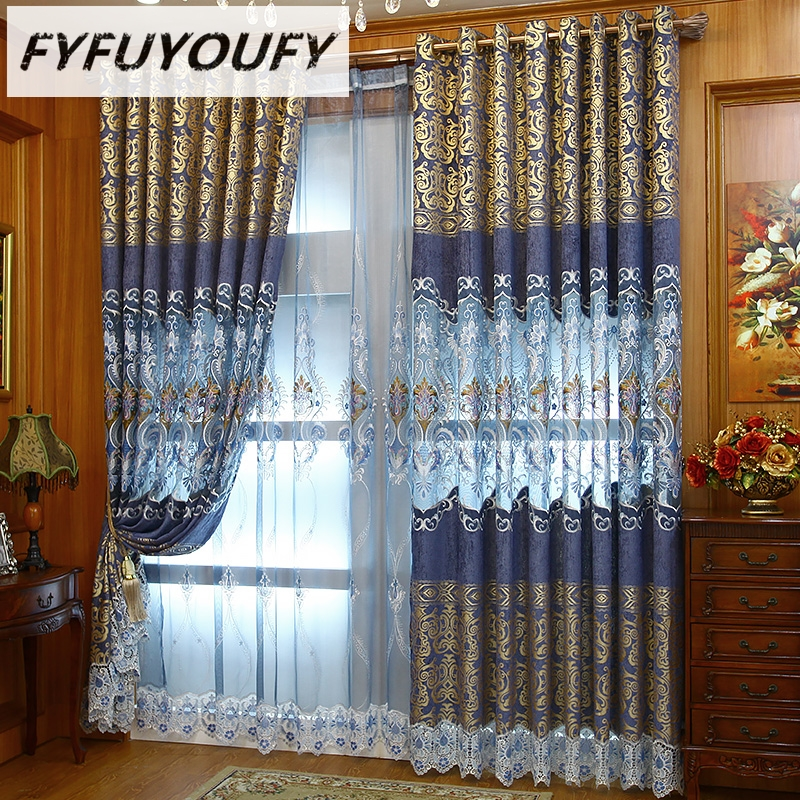 FYFUYOUFY European Floral tulle curtains for living Room Luxury curtains for bedroom Window gold jacquard curtain Air the blinds