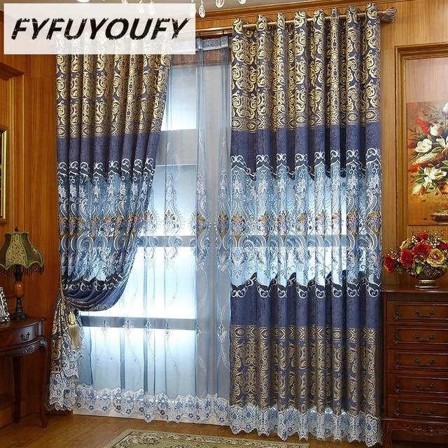FYFUYOUFY Europese Bloemen tule gordijnen voor woonkamer Luxe ...