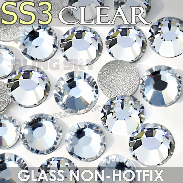 SS3 1.3-1.4mm Clear Nail Rhinestones for to Nails Art Glitter Crystals  Decorations DIY 54000f388aca