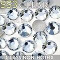 Ss3 1.3-1.4mm claro cristales del brillo del arte del clavo de los rhinestones para uñas decoraciones diy hotfix rhinestone decoración piedras de strass