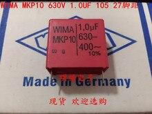 2019 hot sale 10pcs/20pcs German capacitor WIMA MKP10 630V 1UF 1.0UF 630V 105 P: 27.5mm Audio capacitor free shipping 10pcs cbb61 starting capacitance ac 450v 1uf 4uf wire terminal ceiling fan motor run capacitor