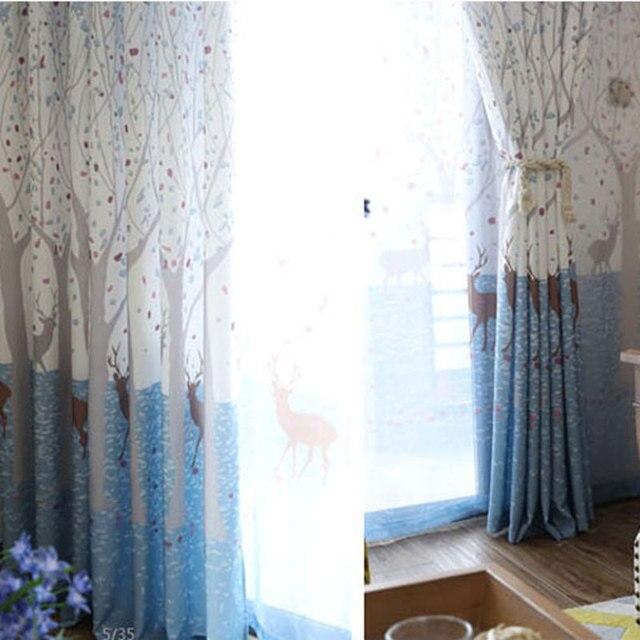 amerikanischen sikawild vorhang wohnzimmer schlafzimmer blau drucken kinder tuch vorhang fenster kinder vorhang 105 - Vorhang Schlafzimmer Blau