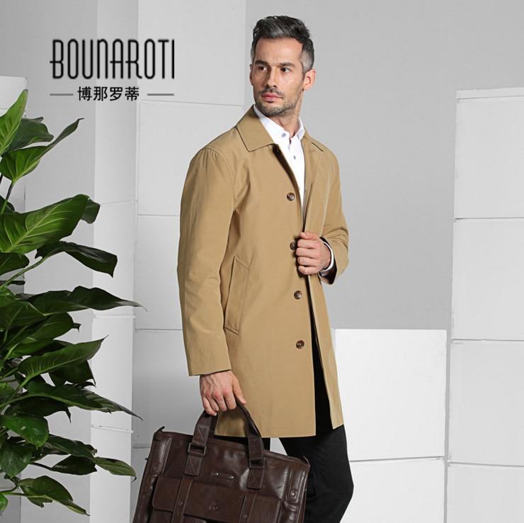 Bounaroti Brand Men Slim fit long   trench   coat 2018 Spring Autumn Single Breasted Business Casual Men windbreaker Khaki Blue 4XL