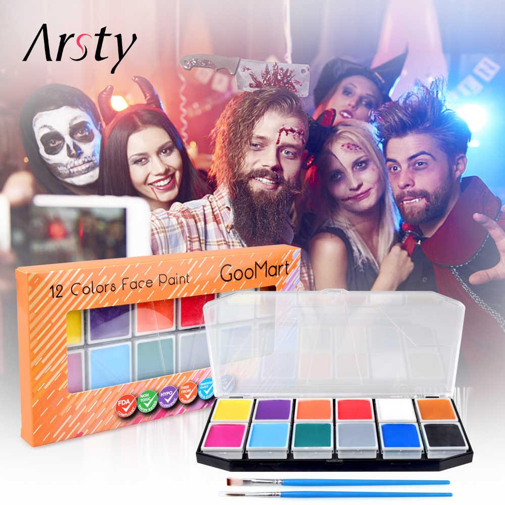 Arsty 12 สีใบหน้าสี 2 แปรงและกล่องโปร่งใสสีเครื่องมือแต่งหน้าสำหรับ Halloween Christmas Dress PARTY