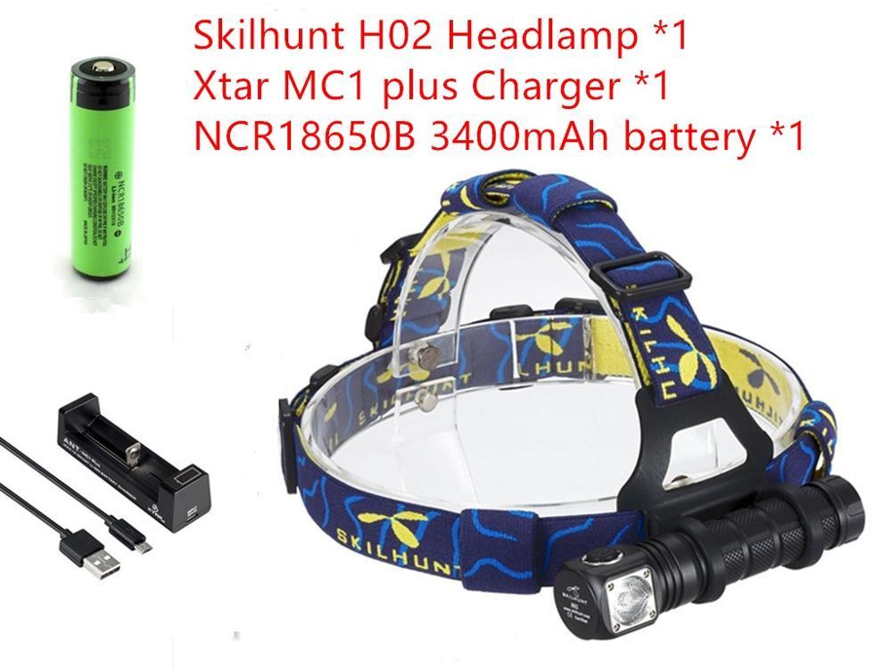2016 New skilhunt H02 led flashlight cree XM-L2 led 1000 lumens led headlamp+<font><b>XTAR</b></font> MC1plus <font><b>Charger</b></font>+NCR18650B 3400mAh battery
