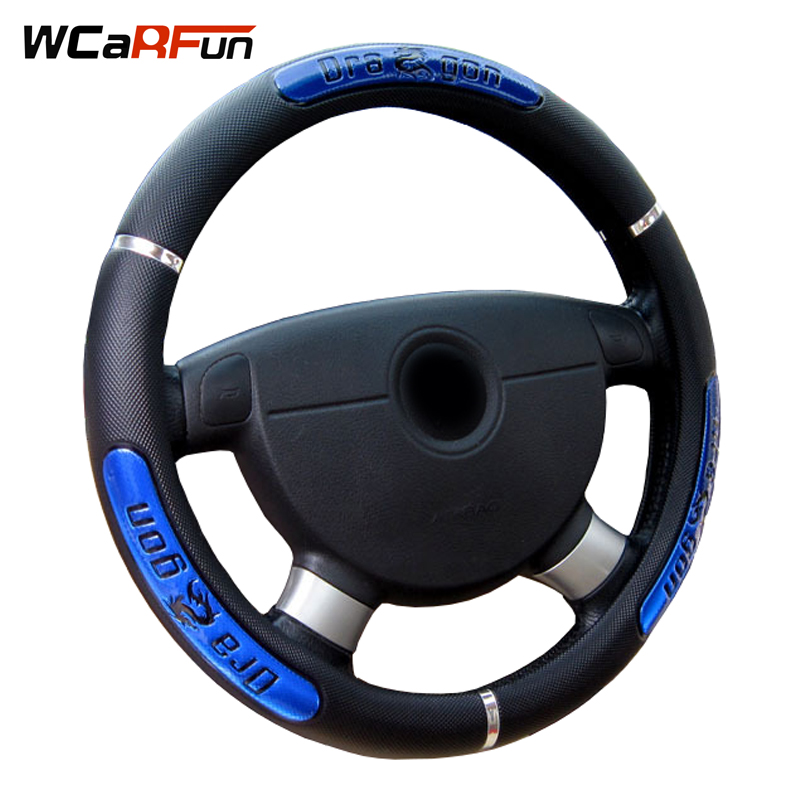 WCaRFun Car Interior accessori Drago Design Faux Leather Auto Car Steering Wheel Covers formato misura 38 cm/15