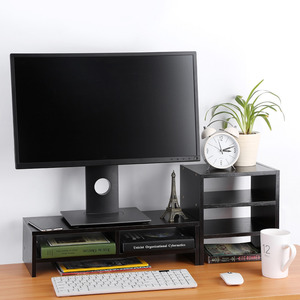 Image 3 - Beschermen Wervelkolom En Hals Computer Laptop Monitor Riser Stand Desktop Met Organizer Houten Computer Bureau
