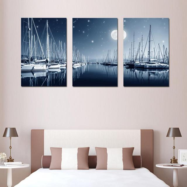 3 Panel Wall Art wharf painting Canvas Picture Painting Modern ...