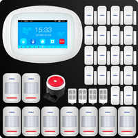 KERUI 4,3 Zoll TFT Farbe Bildschirm Wireless Sicherheit Alarm WIFI GSM Alarm System APP Control Verdrahtete Sirene PIR Motion Tür sensor