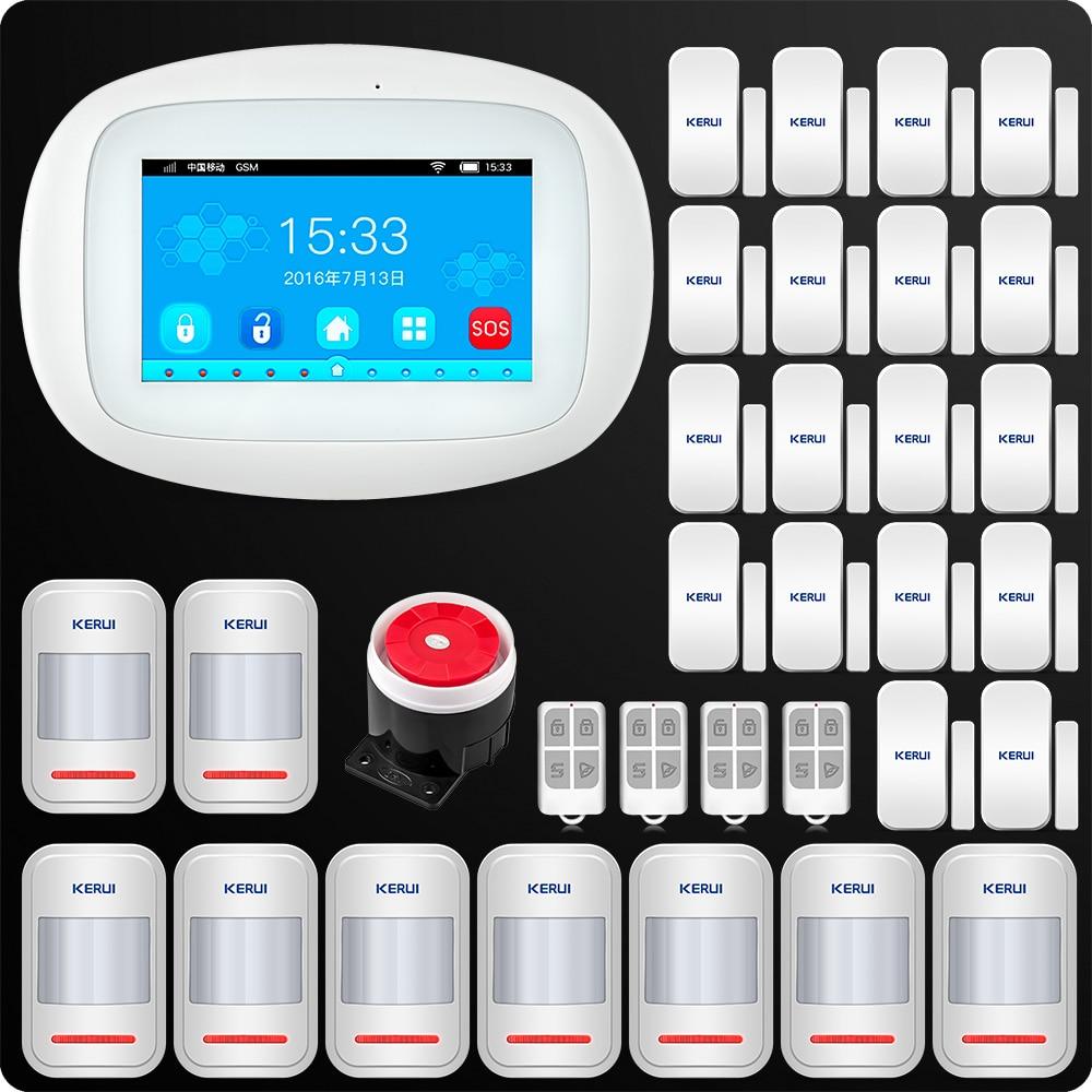 Kerui 4.3 Polegada tft tela colorida sem fio de alarme segurança wi fi gsm sistema alarme controle aplicativo com fio sirene pir sensor da porta movimento
