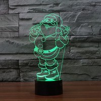Santa Claus 7 Color Changing 3D Lamp LED For Kids Toy Christmas Gifts Magic Ball Mushroom