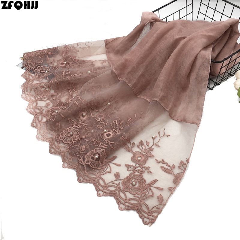 ZFQHJJ High Quality Elegant Women Cotton Scarf Double Side Embroidery Floral Lace Silk Scarf Wedding Party Muslim Hijabs Scarves