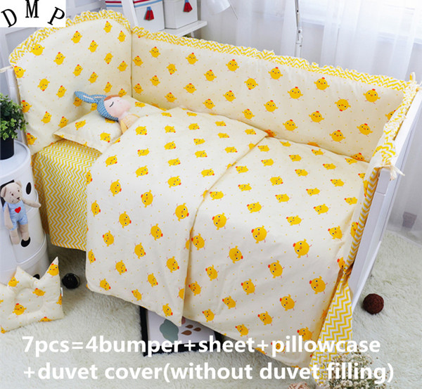 Discount! 6/7pcs Cartoon Baby Cot Crib Bedding Set Quilt Cover Bumper Sheet baby bedding kit,120*60/120*70cm discount 6 7pcs cartoon baby bedding sets crib cot bassinette bumper padded quilt cover 120 60 120 70cm