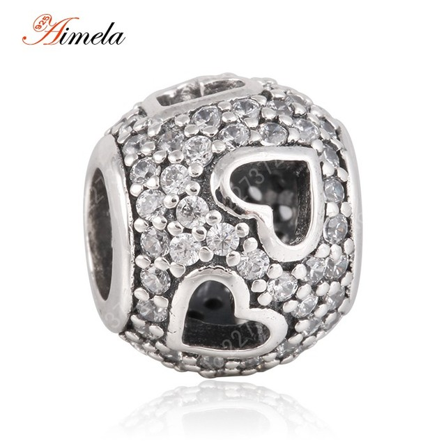 AIMELA 925 Sterling Silver Openwork Love Heart Pave CZ Ball Beads with AAA Cubic Zirconia For Women Bracelets DIY SH0590