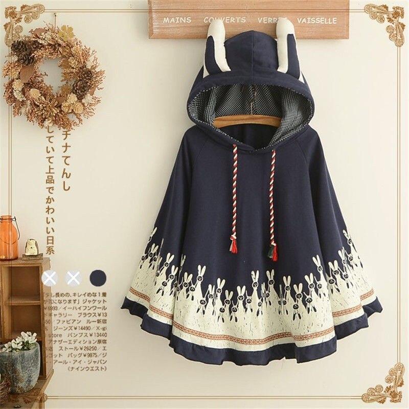 Takerlama 1pc Lolita Girls Rabbit Ears Hoodie Loose Kawaii Cape Spring Fall Coat Cotton Casual Cloak Outerwear 1