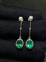 SHILOVEM стерлингового серебра 925 натуральный изумрудные серьги классический ювелирные украшения для женщин Свадебные оптовая продажа jce040699agml