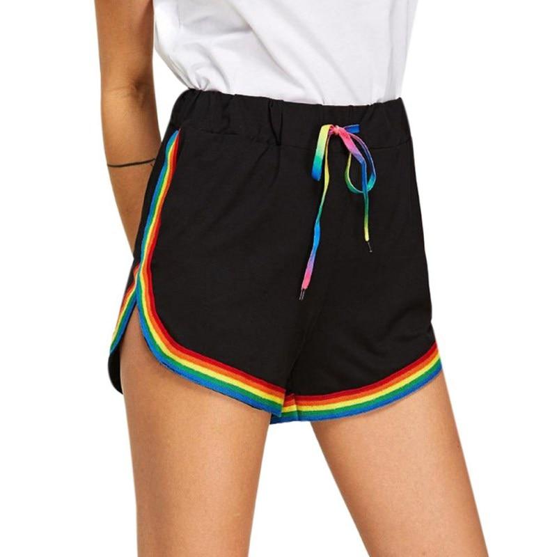 Summer Women Casual Rainbow Print Sport Elastic   Short   Pants Hot Sale Beach Wear High Waist Black   Shorts   For Female