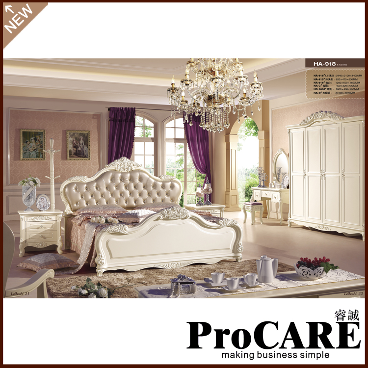 popular light brown leather bed european furniture set villa furniture sets bedroom popular furniture