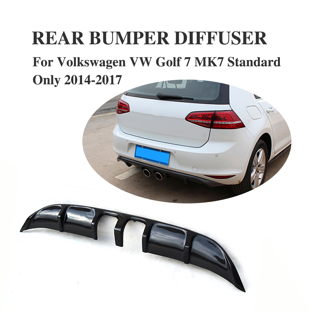 Rear Bumper Diffuser Lip Spoiler For Volkswagen VW Golf 7 MK7 VII Standard Bumper 2014-2017 Carbon Fiber / FRP Black