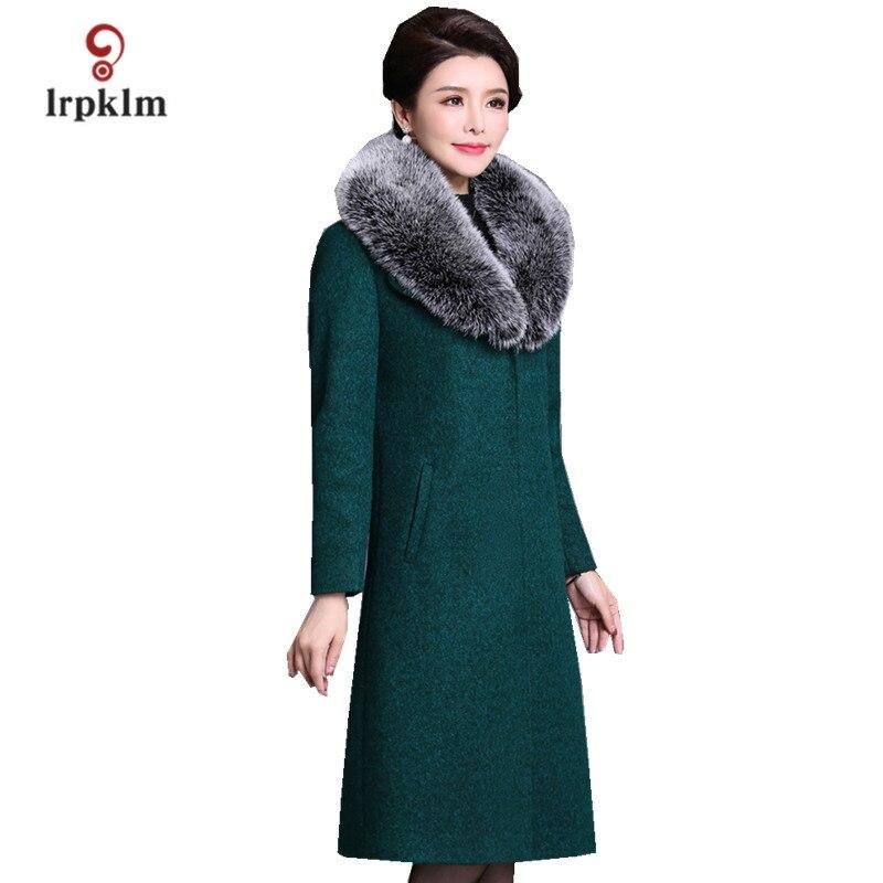 Новинка 2017 года Для женщин зимние длинные шерстяные куртки меховой воротник большой Размеры XL 5XL пальто женские тонкие однотонные парки сер