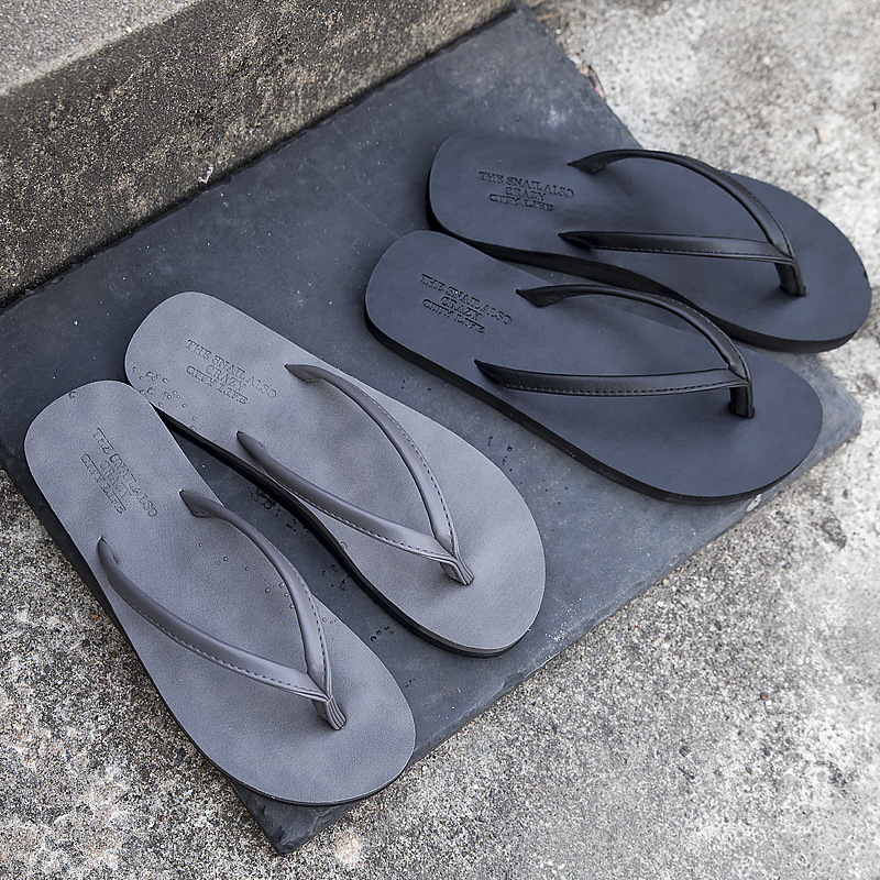 Casual Solid Color Lovers Beach Slippers Men Slip On Clip Toe Flip Flops Male Fashion Personality Sandals Korean Style Slippers(China)