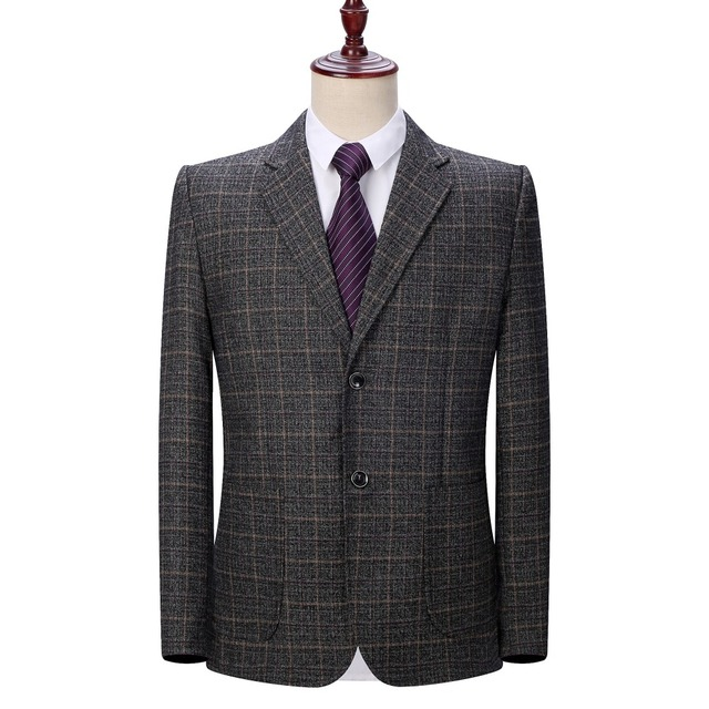 WAEOLSA Men Plaid Blazers Gray Jacket Suit Man Spring Autumn Outfits Plus Size Blazer Male Jacket Suit 2 Buttons Garment Blazer