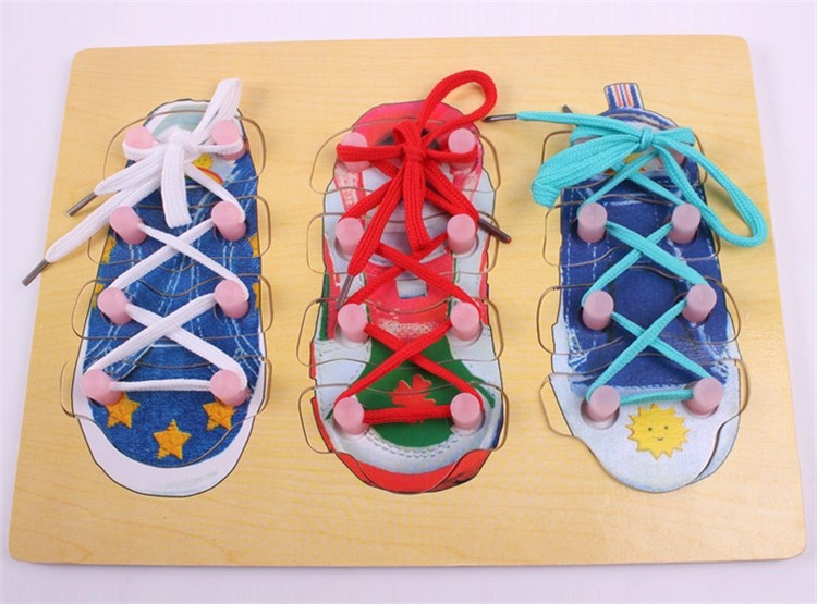 Montessori materialschildren Learn Tie Shoes   30*22cm educational Wooden toy   Learning & Education Toys