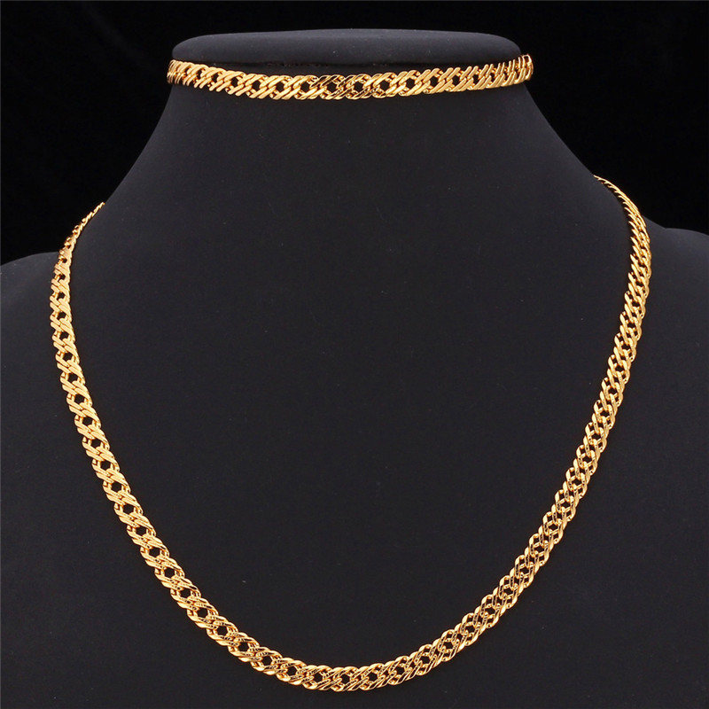 Kpop Chain Sets Men Chain Necklace Bracelets Gift GoldRose Gold