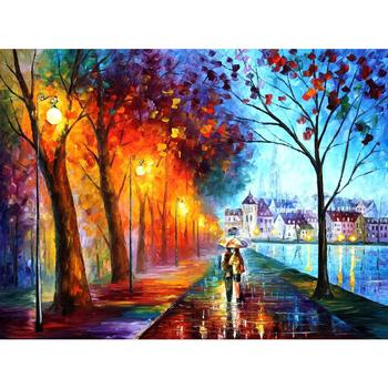 Contemporary art city by the lake hand painted knife paintings landscape oil on canvas High quality