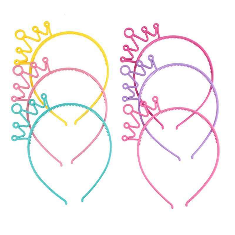 หญิงพลาสติกยืดแถบคาดศีรษะหวานลูกอมสีน่ารัก Hollow OUT Crown Tiara Hair Hoop เจ้าหญิง Headwear