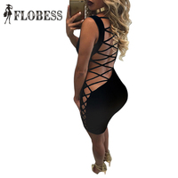 2016 Summer Fashion Womens Celebrity Bandage Dress Sexy Back Criss Cross Hollow Out Lace Up Backless