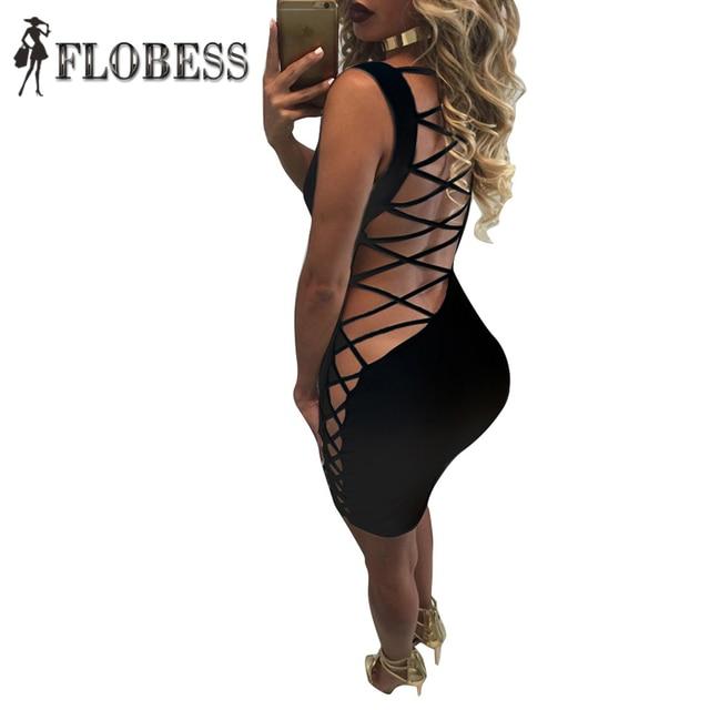 2017 de moda de verano para mujer de la celebridad del vendaje dress sexy back criss-cross hollow out lace up backless del partido de clubwear vestidos