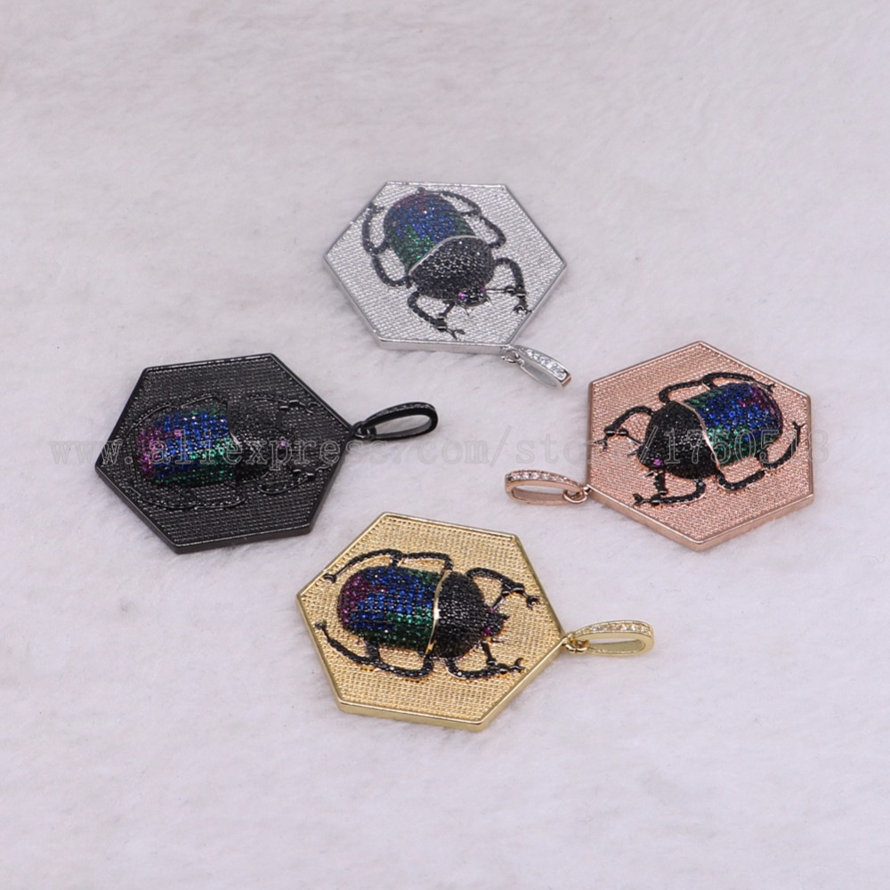 5 pieces geometry bug pendants charm fly insects hexapod bee fly jewelry pendants micro paved mix color pendants pets beads 3086