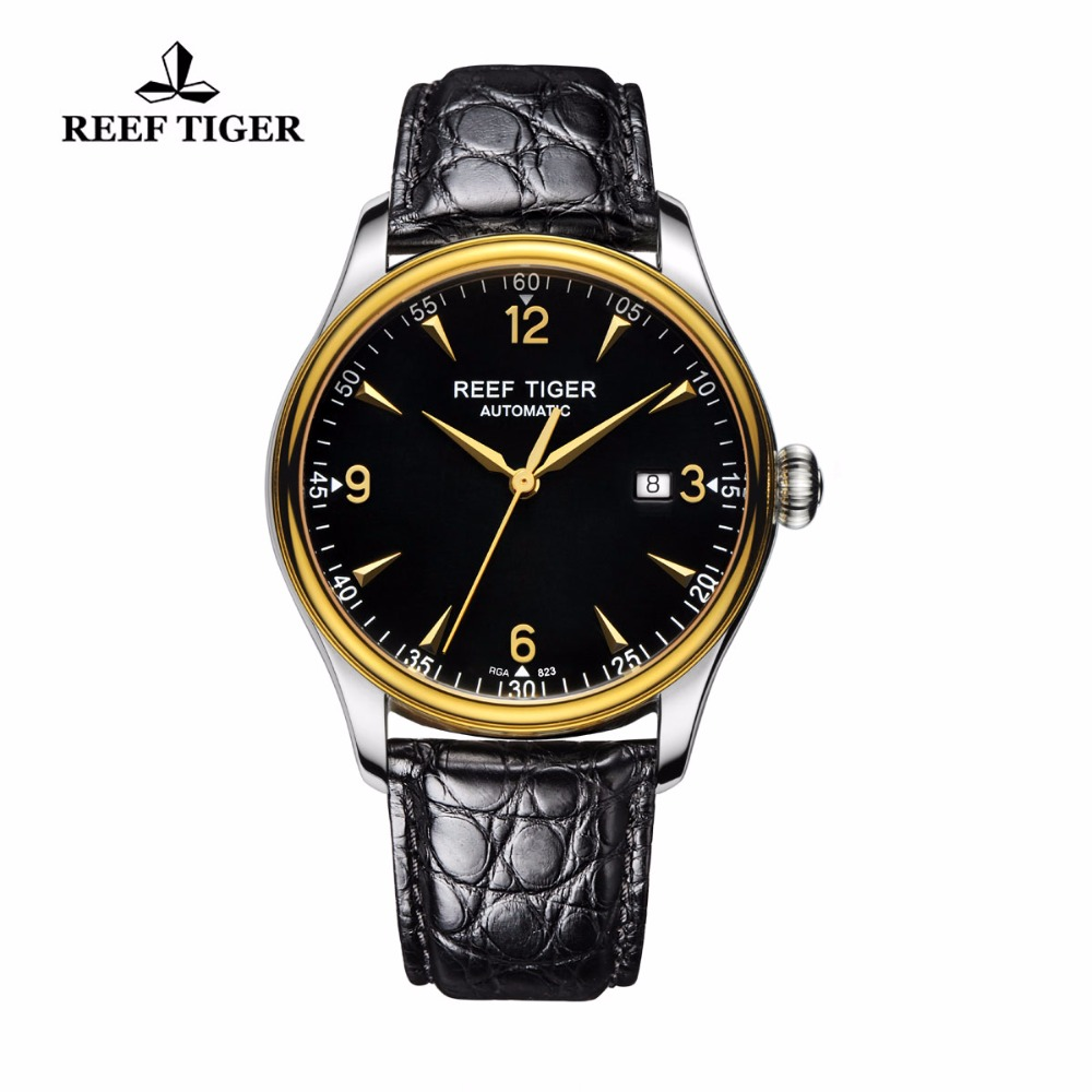 2017 New Reef Tiger/RT Watches Business Watches Genuine Alligator Leather Watches Mens Luxury Brand Automatic Date Watch RGA823 yn e3 rt ttl radio trigger speedlite transmitter as st e3 rt for canon 600ex rt new arrival