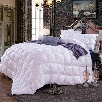 Blanc/rose 1 pièces Top qualité 95% Duvet d'oie blanc hiver couette/couette/couette 100% coton couverture double reine complète King Size