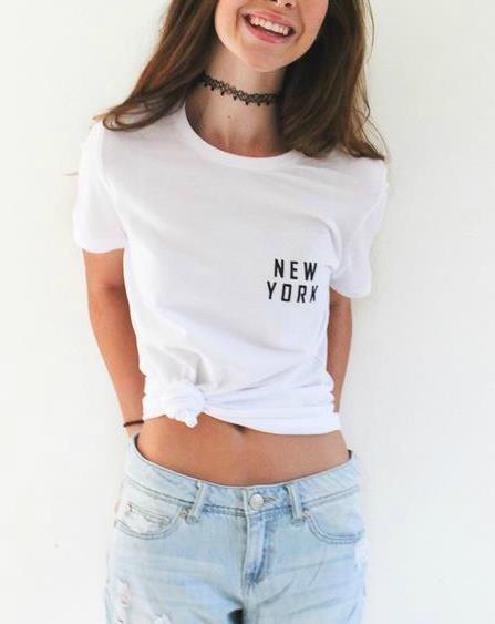 New York Pocket Letters Print Women T Shirt Casual Cotton