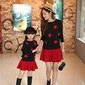 Madre y Niños Camisa Del Palo Del Algodón de Primavera y Otoño Suéter de Punto Ropa de La Muchacha + Falda Niños Ropa de Moda Madre Hija vestidos