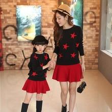 Mère et Enfants Printemps et Automne Pull En Tricot Fille Vêtements Coton Chauve-Souris Chemise + Jupe Enfants Vêtements Mode Mère Fille robes