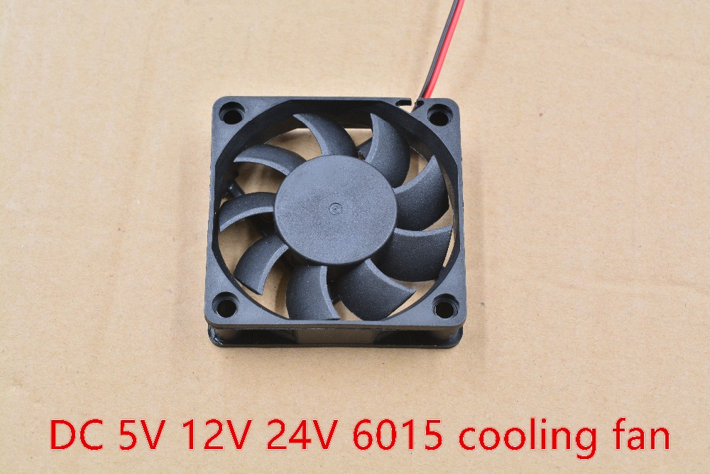 3d printer <font><b>fan</b></font> 6015 2pins <font><b>60mm</b></font> 60x60 x15 mm 6cm cooling <font><b>fan</b></font> graphics card <font><b>fan</b></font> DC <font><b>5V</b></font> / 12V / 24V 6015 2P 1pcs image