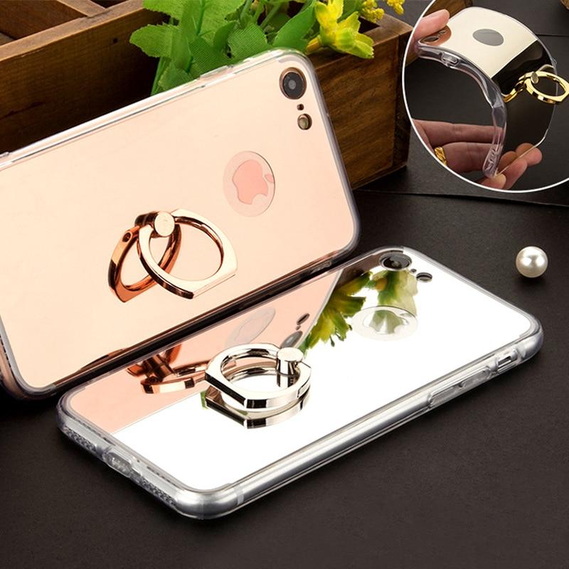 Для iphone 6 6s 5S 5 s SE Case Роскошные зеркало Мягкие TPU Телефон крышка для iPhone 7 6 s 6s плюс 7 плюс Случаях С 360 Телефон Кольцо стенд