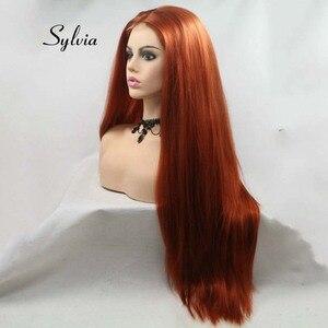 Image 2 - Sylvia Braun Rot Perücke Lange Yaki Gerade Haar U Teil Spitze Perücke Synthetische Spitze Perücke 180% Dichte Wärme Beständig Faser haar Perücken