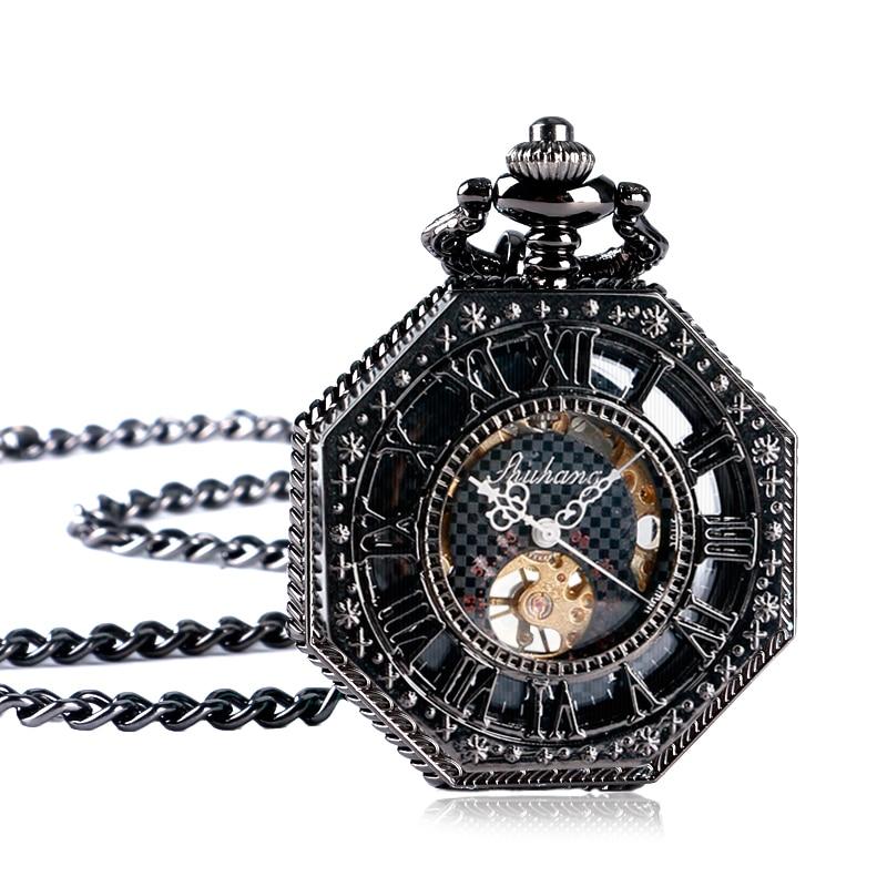 Archaize Black Skeleton Steampunk Octagon Pocket Watch Mechanical Hand Wind Roman Numerals Dial Clock Relogio De Bolso silver steampunk skeleton pocket watch mechanical hand wind pocket