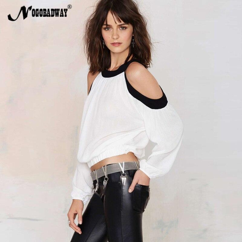 Nogobadway del hombro 2017 del verano tops mujeres blusa sexy camisa de manga la