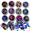 12pcs/set 1/2/3mm Mixed Round Nail Glitter Round Ultrathin Sequins Nail Art Decoration Deep Colors For DIY Accessories C12