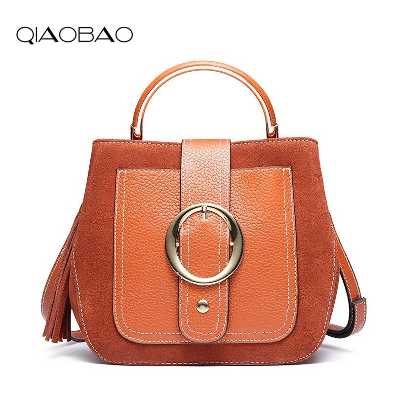 QIAOBAO New Fashion Women 100% Genuine Leather Bag High Quality Tassel Shoulder Bags Luxury Style Hasp Casual Tote Handbag high quality tassel 100